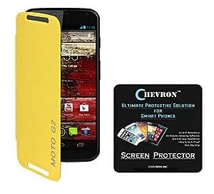 Chevron Flip Cover For Moto G 2nd Gen With Chevron HD Screen Guard (Yellow)