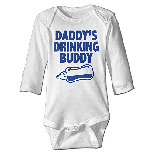 ElishaJ Daddy's Drinking Buddy Babys Long Sleeve Romper Bodysuit Outfits White Size 24 Months (Dyson Bed Tool compare prices)