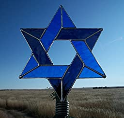 Interfaith Tree Topper, Stained Glass Jewish Star of David, Messianic Christmas Decoration, Large Size