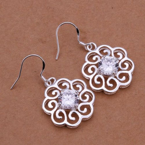 925 Silver Plated Rhinestone Hollow Out Flower Ear Drop Jewelry By Chonlyshop