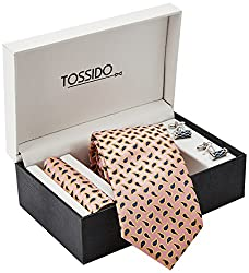 Tossido Men's Synthetic Tie Set (BWTCH10_Pink)