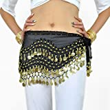 AQY Black Chiffon Belly Dancing Skirt with Gold Cions for Professional and Beginner