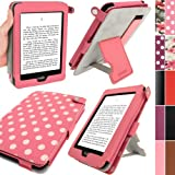 IGadgitz Pink with White Polka Dots 'Bi-View' PU Leather Case Cover for Amazon Kindle Paperwhite 2012 & 2013 versions 3G 6 Display Wi-Fi 2GB. With Sleep/Wake Function & Integrated Hand Strap