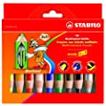Stabilo Woody 3-in-1 Colouring Pencils Wax Crayons Watercolours Line 10mm Assorted Ref 880/10 [Pack 10]