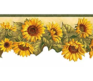 Amazon.com - Green Yellow Sunflower Die-cut Wallpaper Wall