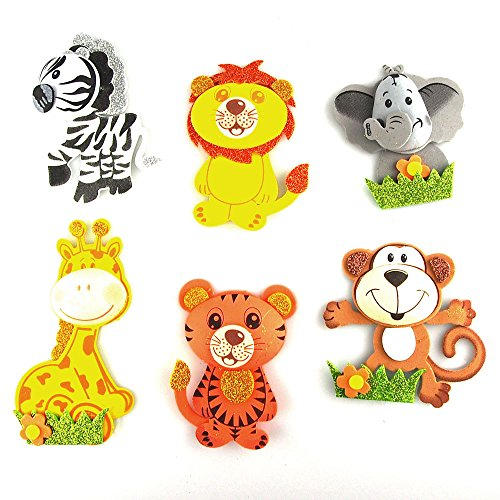Safari Animals Foam Cutouts Decor, 6-pairs, Small - 1