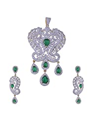 Nimbark Traders Brass And Metal White & Green Color Designer Pendent Set With Earrings For Women - B00RFRGROE