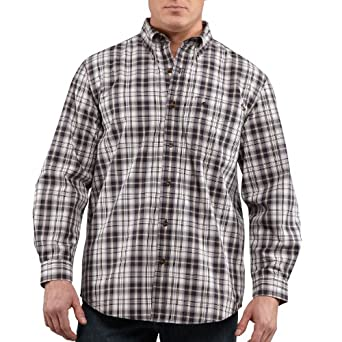 Carhartt Men's  Bellevue Long Sleeve Shirt Plaid Button Front Relaxed Fit,Deep Blue (Closeout),X-Large