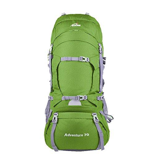 c52ff5fc7f06 登山 リュック 70L アウトドア ハイキング バックパック 旅行 キャンプ リュックサック トレッキング ザック クライミング レインカバー付き  K0805-OXking(グリーン)