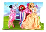 Fairy Princess Horse Ride Toy Doll Playset, Comes w/ Princess and Horse Dolls, Accessories (Colors May Vary)