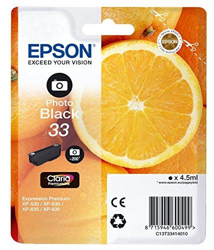 Epson T3341 Tinte, Orange, Claria Premium, Text- und Hochglanzfotodruck (Singlepack) schwarz