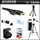 Starter Accessories Kit For The Canon PowerShot SX500 IS, SX510 HS Digital Camera Includes Deluxe Carrying Case + 50 Tripod With Case + Mini HDMI Cable + USB 2.0 Card Reader + LCD Screen Protectors + Mini TableTop Tripod + MicroFiber Cleaning Cloth