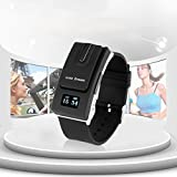 Excelvan Black Color Link Dream Smart Watch Detachable with Bluetooth V3.0 Earphone Headset Call Reminder for IOS 6,6 plus,5S,Samsung S5 HTC LG Android Phone, Nokia, Blackberry
