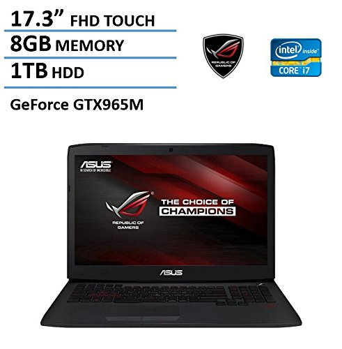 2016 New Asus ROG 17.3″ High Performance Gaming Laptop, Full HD 1920×1080 Touch Display, Intel Quad-Core i7-4720HQ, NVIDIA GeForce GTX 965M, 8GB RAM, 1TB HDD, Illuminated keyboard, Windows 8.1 / 10