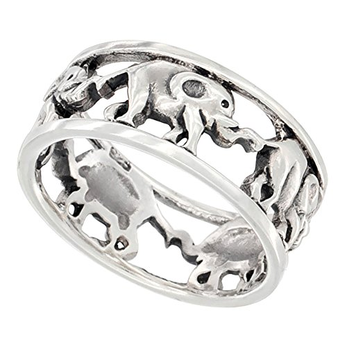Sterling Silver Linked Elephants Ring Wedding Band 5/16 Inch Wide, Size 10