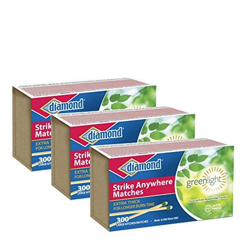 Image of Diamond GreenLightTM Kitchen Matches - 3 Pack - 300 Matches per Pack x 3 = 900 Match (Strike anywhere)