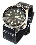22mm Heavy Hand Stitches Black Leather Watch Strap Fishtail Buckle ideal for Seiko Divers watch.