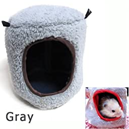 Easygoby Hamster Hammock Bed Tree House Rat Ferrets Bird Squirrel Pet Xmas Gift Warm Cage,Gray
