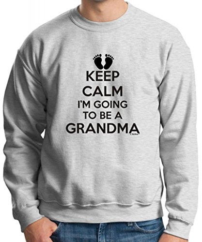 Keep Calm I'M Going To Be A Grandma Crewneck Sweatshirt Small Ash front-1084870