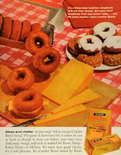 1961-ad-down-east-tradition-doughnuts-with-cheese-cracker-barrel-cheddar-kraft-original-print-ad