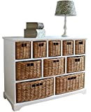 10 Drawer White Wide Functional Wooden Maize Wash Wicker Baskets Cabinet Storage Unit FULLY ASSEMBLED Quality Chest of drawers (White)