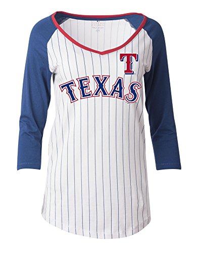 MLB Texas Rangers Women's Pinstripe 3/4 Sleeve Jersey, White, Medium (Texas Rangers Shirts Women compare prices)