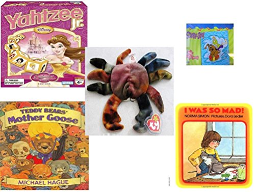 Children's Gift Bundle - Ages 3-5 [5 Piece] - Disney Princess Yahtzee Jr. Game - Scooby Doo & Shaggy 100 Piece Puzzle Toy - Ty Teenie Beanie Baby - Claude the Crab - Teddy Bears' Mother (Mad Teenies)