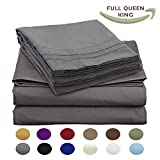 Luxury Egyptian Comfort Wrinkle Free 1800 Thread Count 6 Piece Queen Size Sheet Set, COOL GREY Color, 2 Bonus Pillowcases FREE!