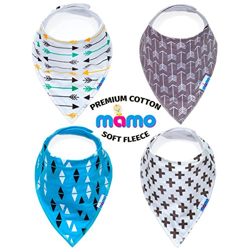 Mamo-Premium-Baby-Bandana-Drool-Bibs-Unisex-4-Pack-Absorbent-Cotton-With-Adjustable-Snaps-Cute-Baby-Gift-for-Boys-Girls