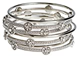 Audrey's Collection Silver Tone 9 Stack Shiny Women Bangle Bracelets Plus Size 3 Inches in Diameter