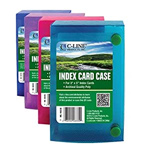 C-Line Biodegradable Index Card Case for 3 x 5 Inch Index Cards, 1 Card Case, Color May Vary (48335)