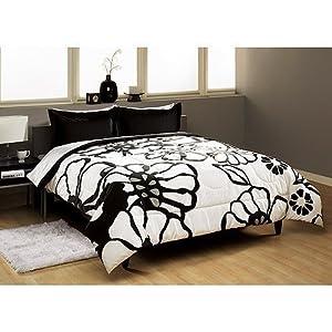 modern large floral black white 3 pc queen comforter set teenage bedding. Black Bedroom Furniture Sets. Home Design Ideas