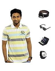 Garushi Multicolor T-Shirt With Watch Belt Sunglasses Cardholder - B00YML5WMY