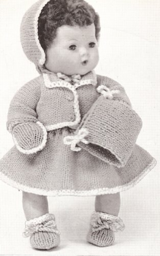 Vintage Knitting PATTERN to make - 15 inch Baby Doll Clothes Bonnet Skirt Top. NOT a finished item, this is a pattern and/or instructions to make the item only.