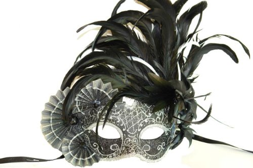 Black and Silver Finish Venetian Mask with Classy Mardi Gras Decor and Side Feathers