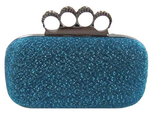 Chicastic Glitter Metallic Duster Four Ring Knuckle Clutch Evening Purse With Rhinestones
