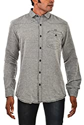 Indipulse Men's Casual Shirt (IF1151901LN, Grey, M)