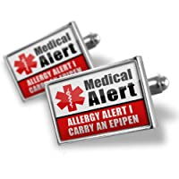 "Neonblond Cufflinks Medical Alert Red ""Allergy Alert 1 Carry an Epipen"" - cuff links for man from NEONBLOND Jewelry & Accessories"