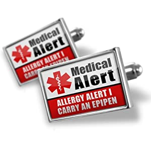 """Neonblond Cufflinks Medical Alert Red """"Allergy Alert 1 Carry an Epipen"""" - cuff links for man from NEONBLOND Jewelry & Accessories"""
