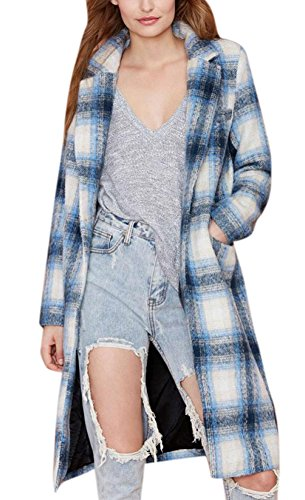 Lingswallow Women Blue One Button Plaid Wool Long Trench Coat Polo Jacket Blazer Blue and White Checkered Pattern XL(US 10-12 Bust: 44.72inch) (Details Plaid Coat compare prices)