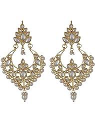 Happy Haat Designer Gold Plated Kundan Chand Bali Earings For Women
