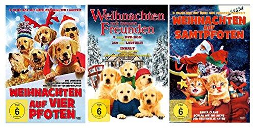 4 Pfoten für Weihnachten ( 3 DVD´s mit 9 Filmen - z. B. Golden Winter - Schlau wie ein Luchs - Nur Hunde kommen in den Himmel - und viele mehr )