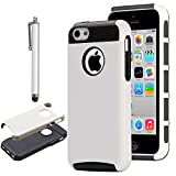 iPhone 5C Case, iPhone 5C Cover, iPhone 5C Cases, ULAK(TM)Colorful Hybrid TPU+PC 2 on 1 Dirt Dust Proof Hard Case Cover for iPhone 5c with Screen Protector (White+Black)