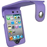 IGadgitz PU Leather Case Cover with Belt Clip, Screen Protector for Apple iPod Touch 4G - Purple