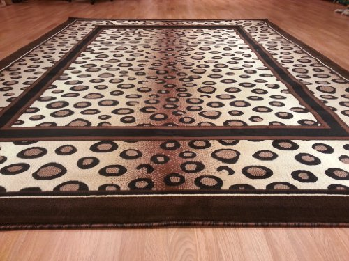E505 Contemporary Modern Transitional Leopard Brown Berber 5x8 Actual Size 5'3x7'2 Rug