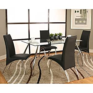 mensa chrome dining room set w black chairs chairs