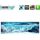 Canvas picture 145x45cm (57.1 x 17.7 inch) PREMIUM   3cm wooden stretcher-frame   1-piece BLUE SEASCAPE by liwwing (R)   Canvas Print Canvas Art Wall Picture Wall Mural Photo   Ocean sea water lake storm wave blue turquoise