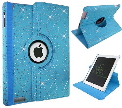 Xtra-Funky Range PU Leather 360 Degree Rotating Smart Case For iPad Mini 4 with Auto Wake / Sleep Function + Screen Protector and Soft Tipped Stylus - Crystal Blue