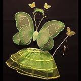 とってもキュート♪可愛いバタフライ(蝶々)4点セット!ちょうちょ羽根カチューシャステッキ(スティック)ハロウィン・クリスマス・誕生日・学芸会などコスプレキッズ子供向け女の子(緑)