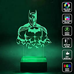CMLART Handmade Batman Art Design 3d Lamp RGB Full Color 44 Key Remote control LED Night Light Best Gift Desk Table Lighting Home Decoration Toys